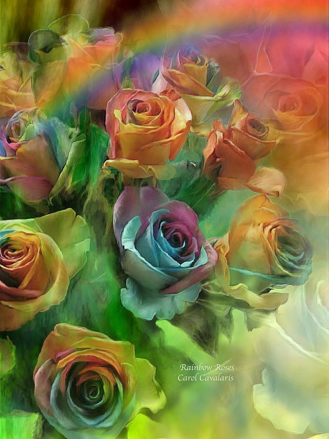 Rainbow Roses Mixed Media  - Rainbow Roses Fine Art Print