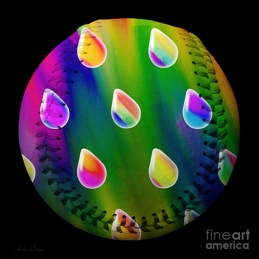 Baseball Digital Art - Rainbow Showers Baseball Square by Andee Design