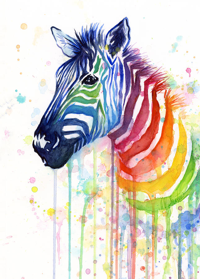 Rainbow Zebra - Ode To Fruit Stripes Painting