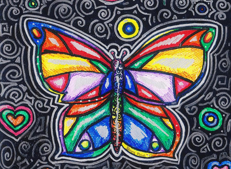 Rainbows And Butterflies Drawing  - Rainbows And Butterflies Fine Art Print