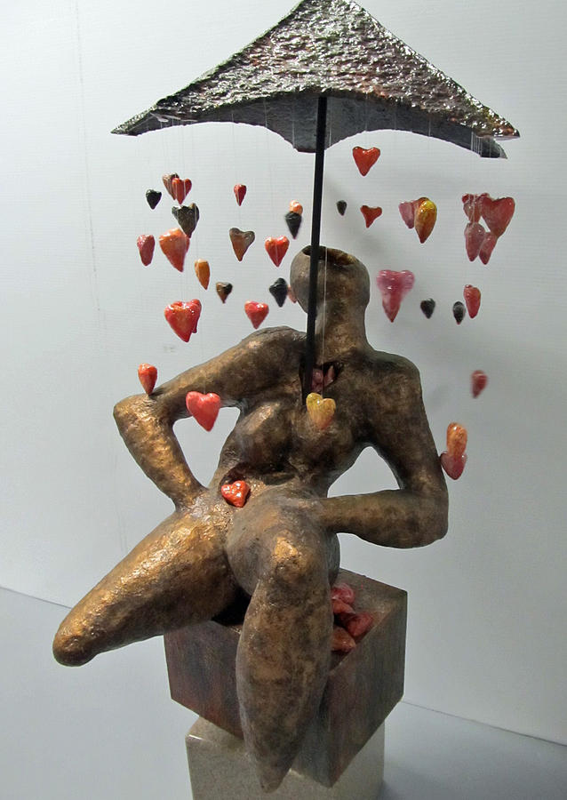 Raining Hearts Sculpture  - Raining Hearts Fine Art Print