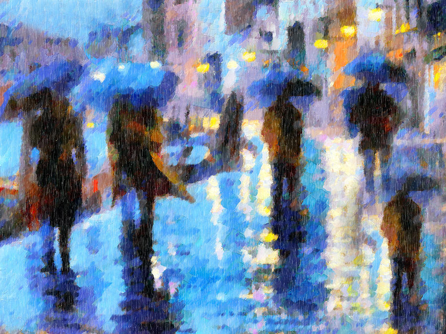 Raining In Italy Abstract Realism Painting  - Raining In Italy Abstract Realism Fine Art Print