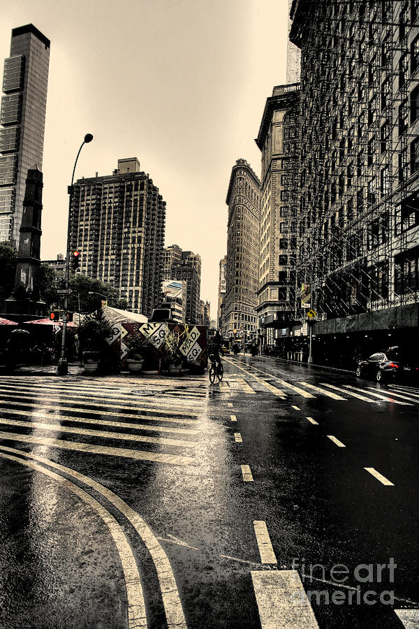 Raining On Flatiron Photograph  - Raining On Flatiron Fine Art Print