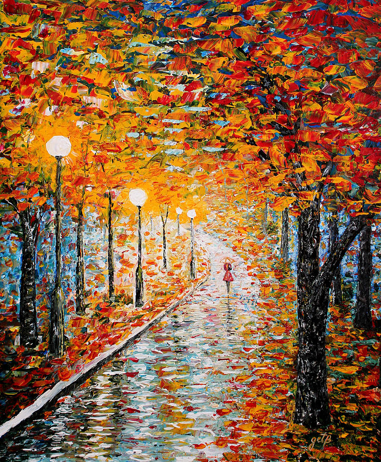 Rainy autumn day palette knife original painting by for Palette knife painting acrylic