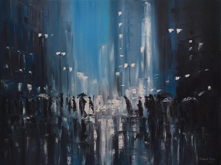 Rainy City Painting By Salavat Fidai