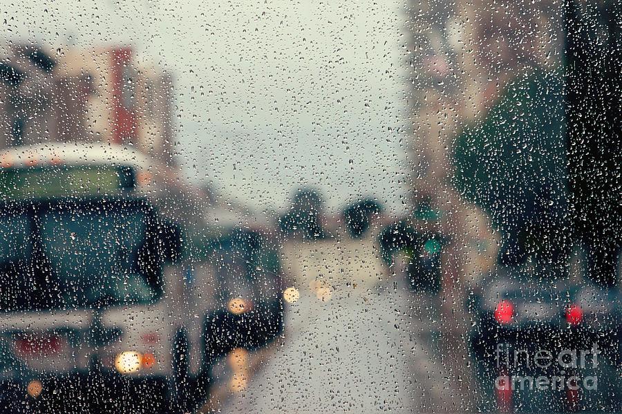 Rainy City Street Photograph