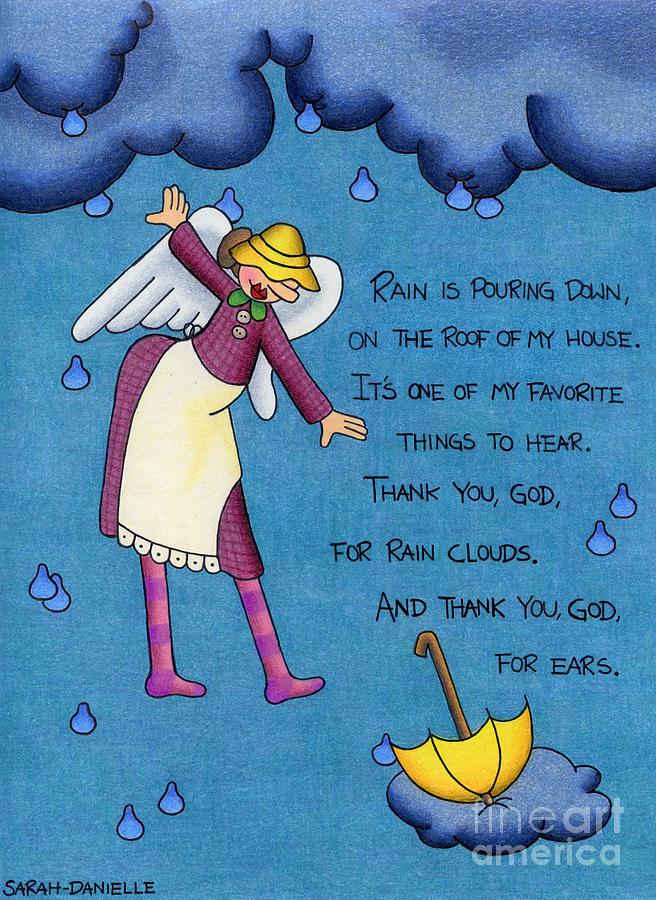 Rainy Day Angel Drawing  - Rainy Day Angel Fine Art Print