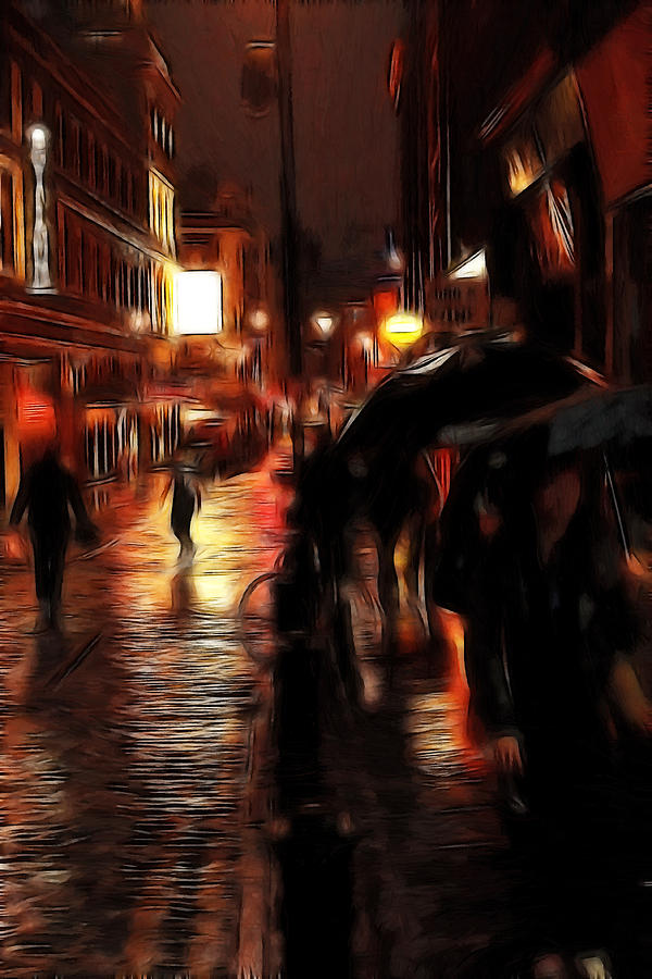 Rainy Day In Soho Painting  - Rainy Day In Soho Fine Art Print