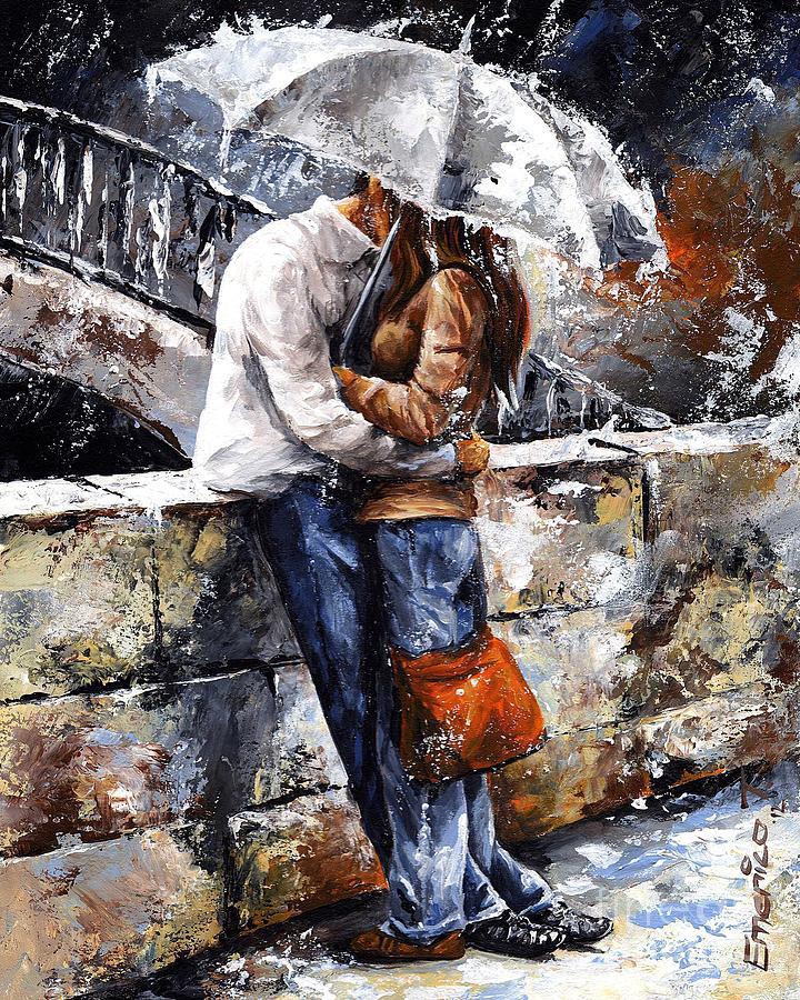 Rainy Day - Love In The Rain Painting
