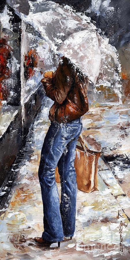 Rainy Day - Woman Of New York 15 Painting