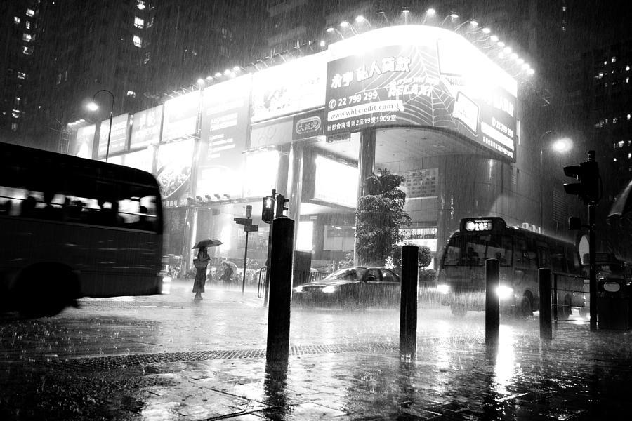 Urban Area At Night Rainy Night At ...