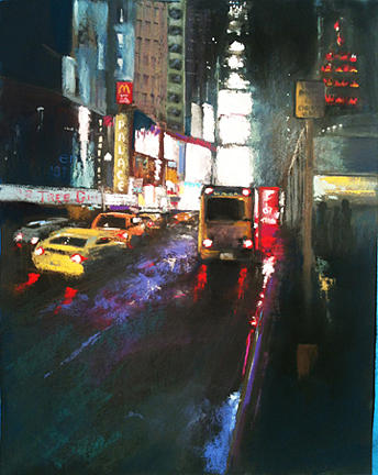 New York City Pastel - Rainy Night In Midtown by Sandra Ortega