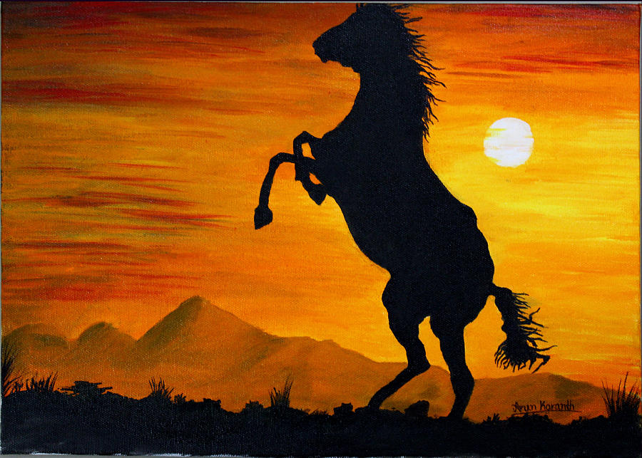 raising horse painting by arun karanth