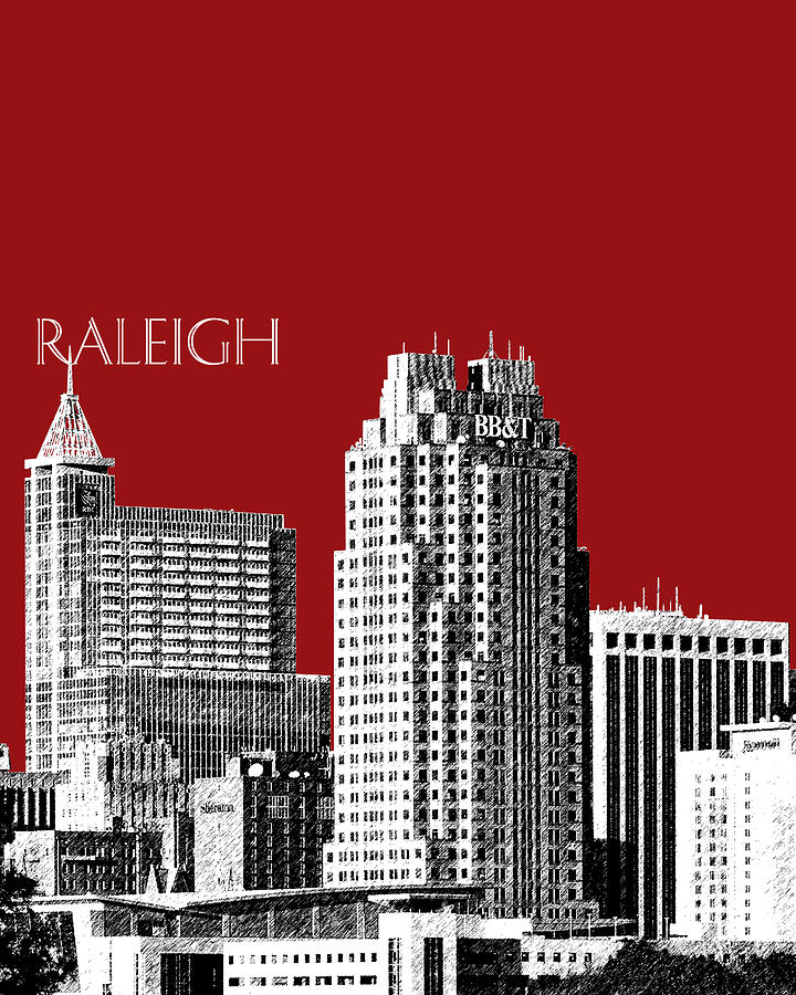 Raleigh Skyline Dk Red Digital Art  - Raleigh Skyline Dk Red Fine Art Print