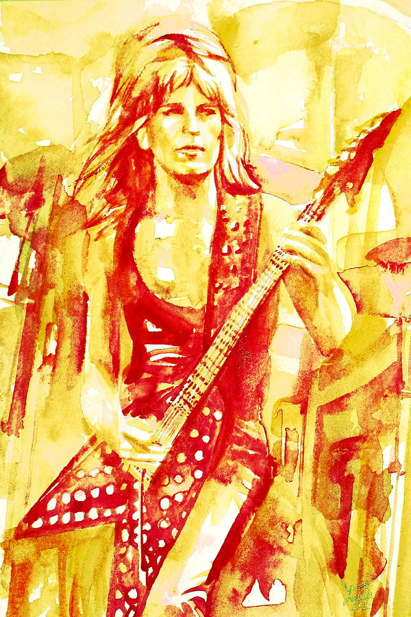 Randy Rhoads Playing The Guitar Portrait Painting  - Randy Rhoads Playing The Guitar Portrait Fine Art Print