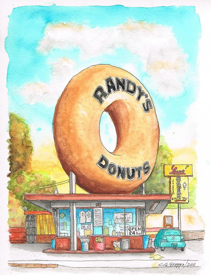 Randys Donuts In Los Angeles - California Painting  - Randys Donuts In Los Angeles - California Fine Art Print