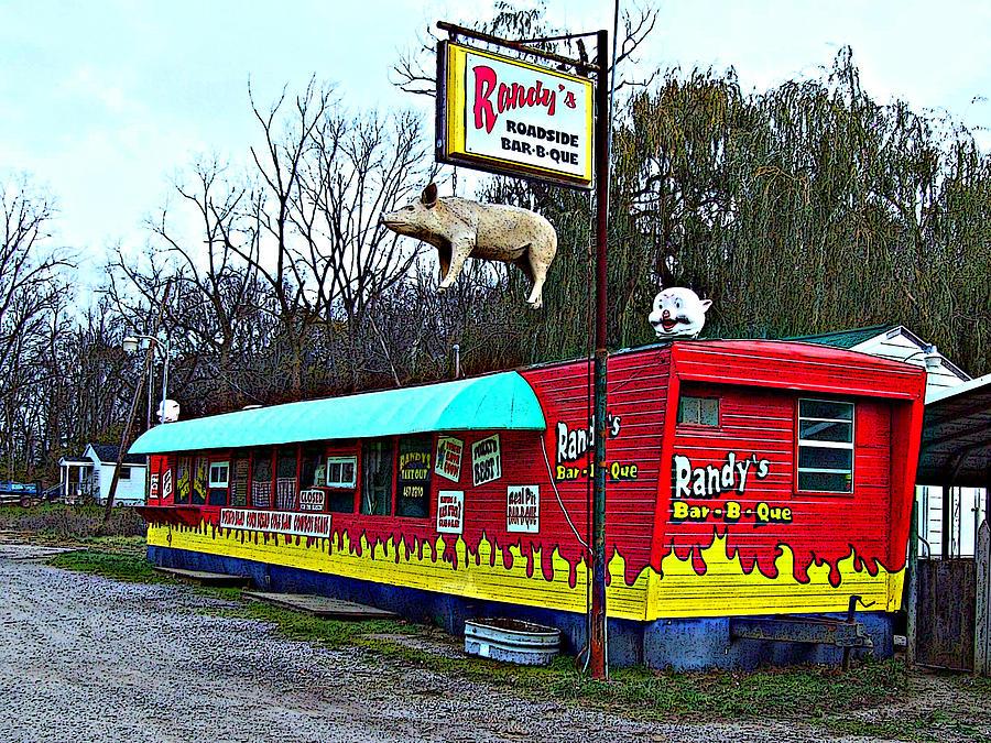 Mj Olsen Photograph - Randys Roadside Bar-b-que by MJ Olsen