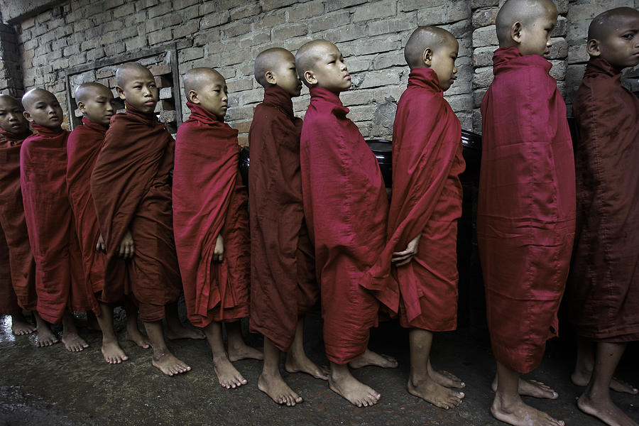 Southeast Asia Photograph - Rangoon Monks 1 by David Longstreath