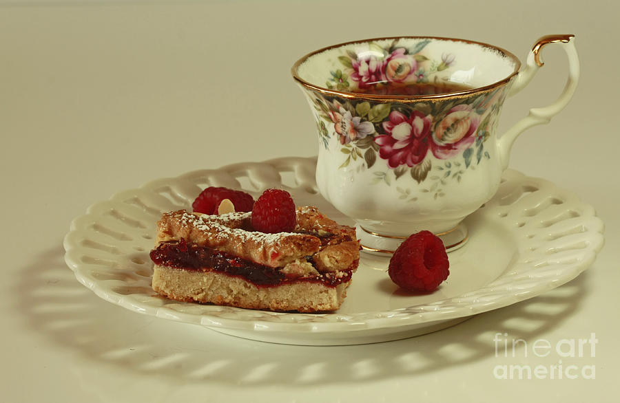 Raspberry Almond Square And Herbal Tea  Photograph  - Raspberry Almond Square And Herbal Tea  Fine Art Print