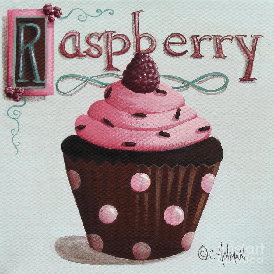 Raspberry Chocolate Cupcake Painting  - Raspberry Chocolate Cupcake Fine Art Print