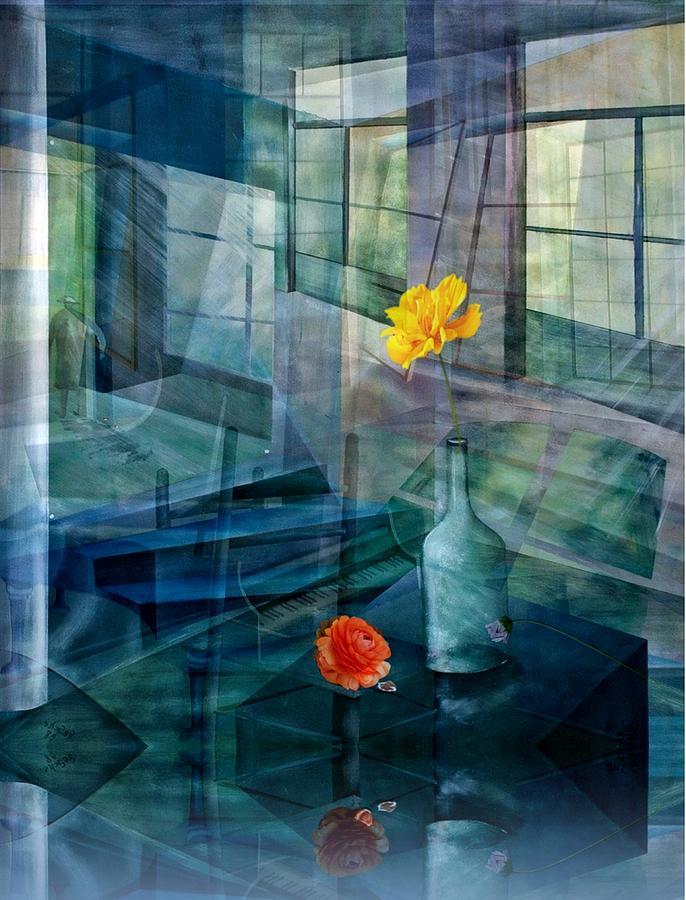 Oelfarbe Mixed Media - Raum-reflektion by Gertrude Scheffler