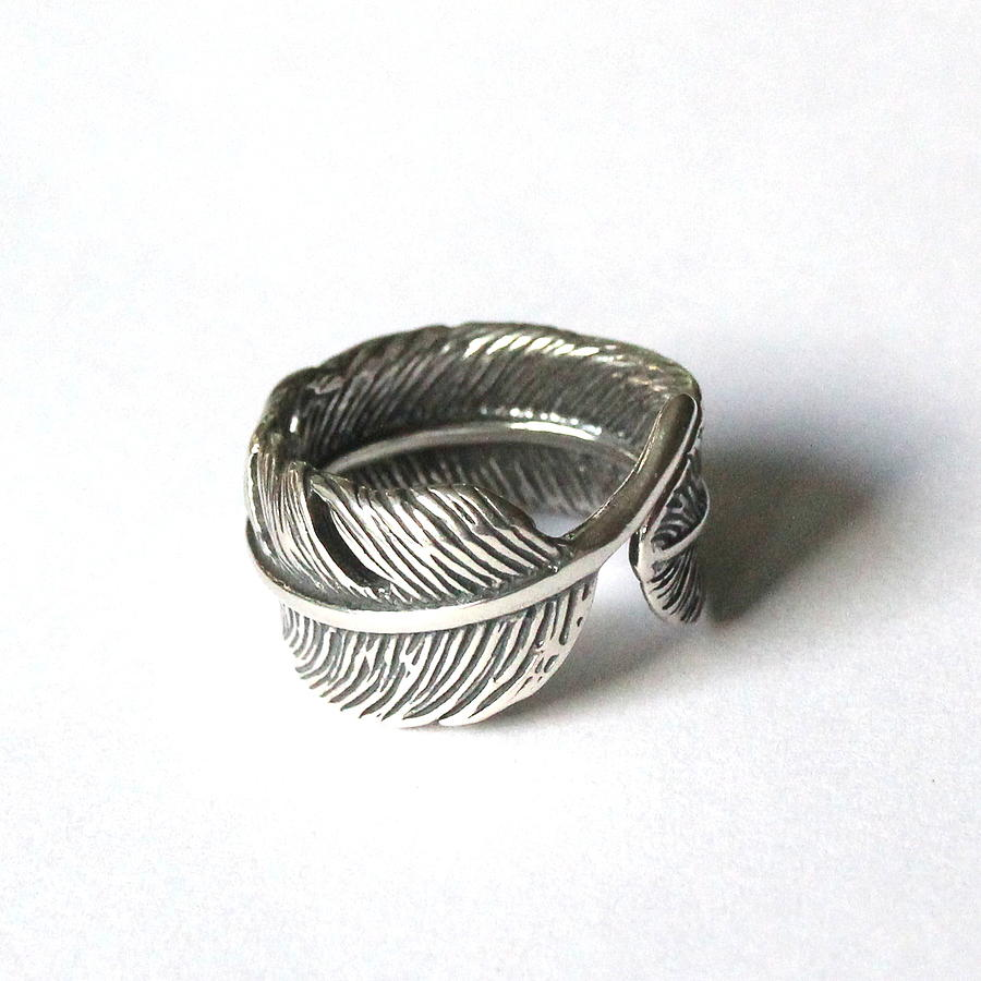 feather bypass ring cast in solid sterling silver