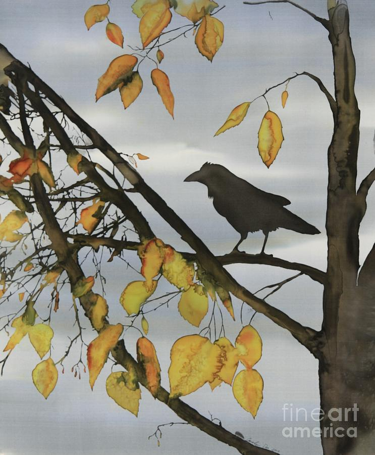Raven In Birch Tapestry - Textile  - Raven In Birch Fine Art Print