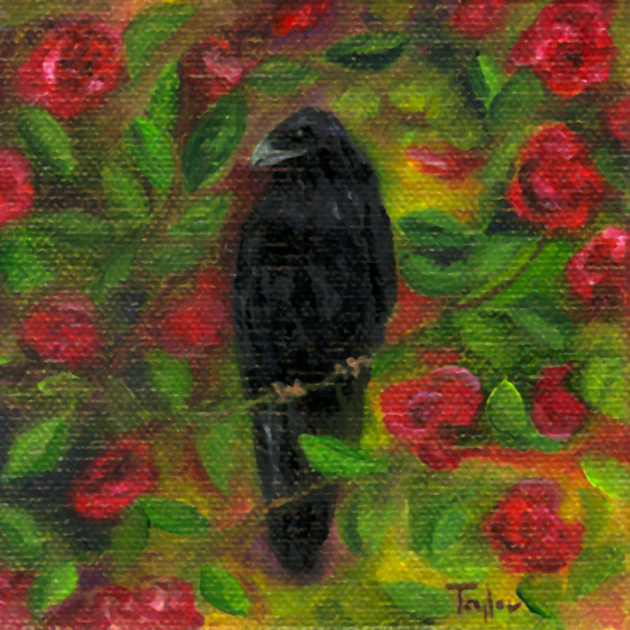 Raven In Roses Painting