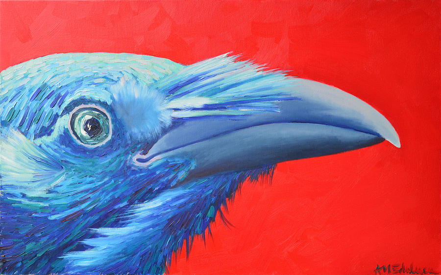Raven Painting - Raven Portrait by Ana Maria Edulescu