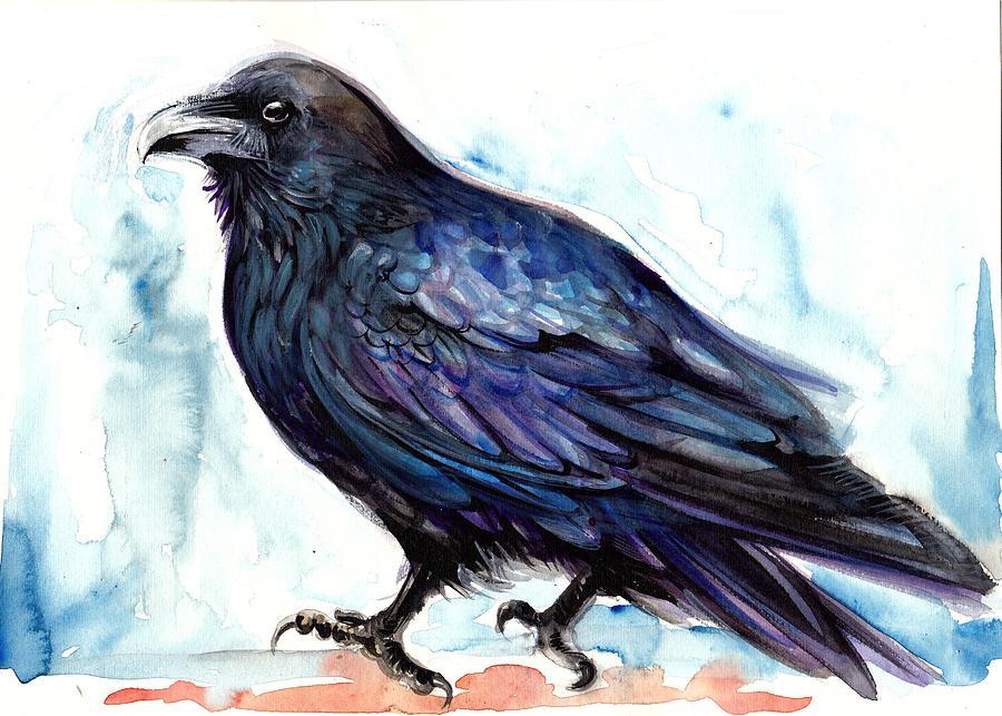 Raven Resting - Bird Art Watercolor Painting by Tiberiu Soos