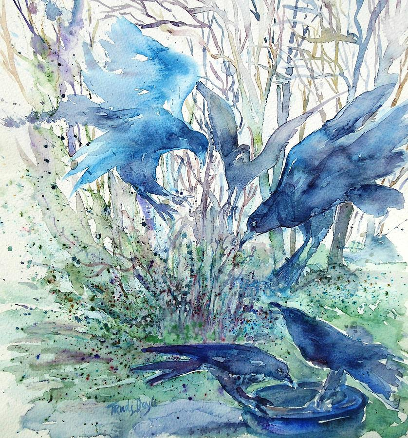 Birds Painting - Ravens Wood by Trudi Doyle