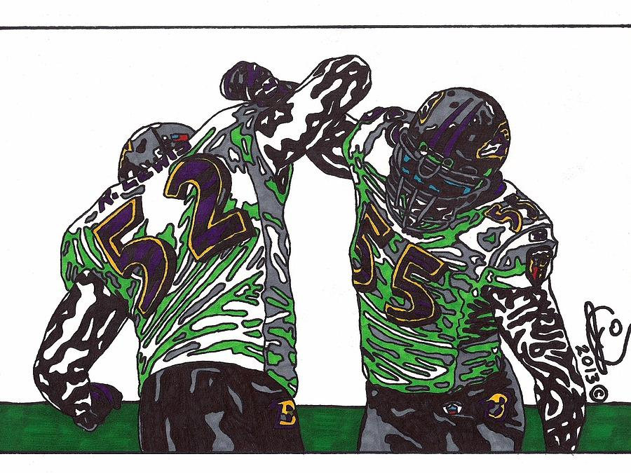 Ray Lewis And Terrell Suggs Drawing By Jeremiah Colley