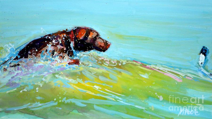 Chocolate Labrador Retriever Painting - Reach by Molly Poole
