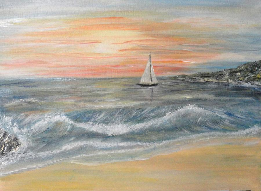 Seascape Painting - Reaching Horizon And Beyond... by Corina Blejan Lupascu