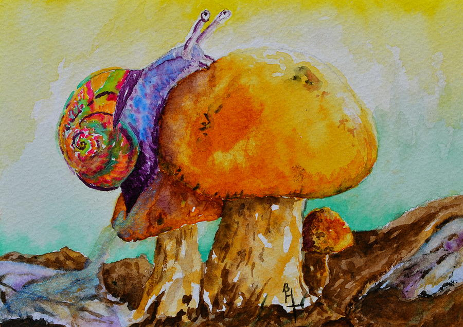 Snail Painting - Reaching The Summit by Beverley Harper Tinsley