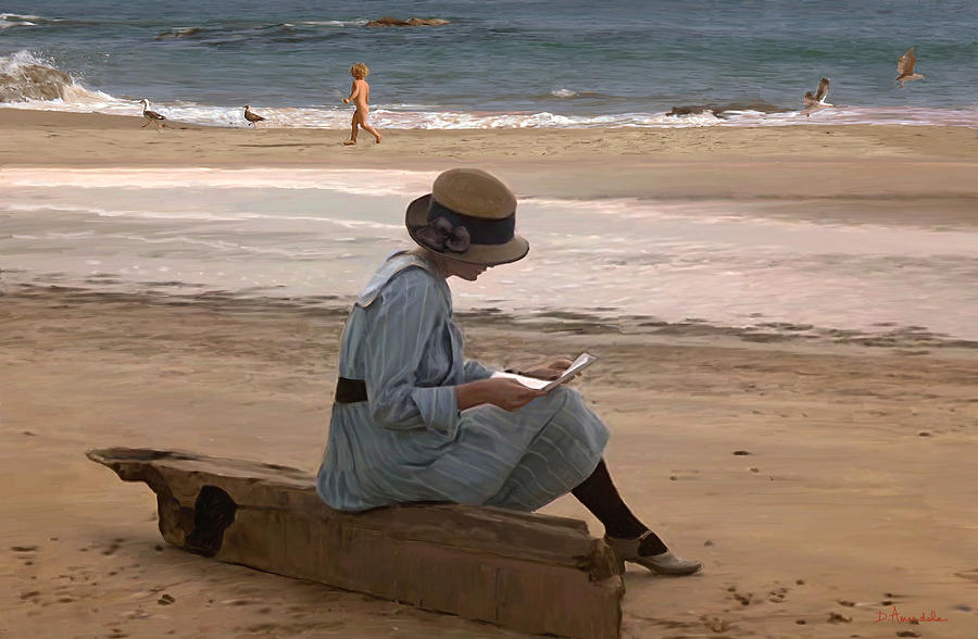 Reading A Letter On The Beach Painting  - Reading A Letter On The Beach Fine Art Print