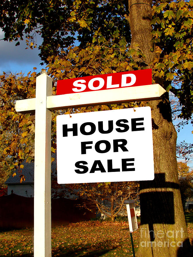 Real Estate Sold And House For Sale Sign On Post Photograph
