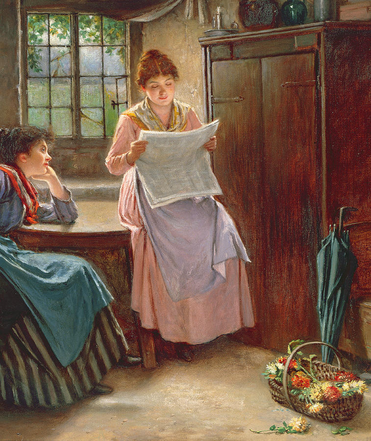 Interior; Newspaper; Letter; Reading; Female; Mother; Daughter; Daughters; Sisters; Girls; Family; Kitchen; Breakfast Table; Seated; Geraniums; Pot Plants; War Time; Communication; Victorian; Daily Life Scene; Anxiety; The Boer War Painting - Recent News by Haynes King