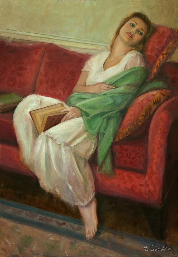 Reclining With Book Painting
