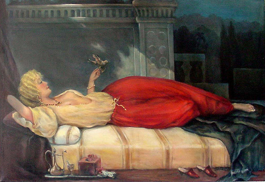 Reclining Woman Painting By Donna Tucker