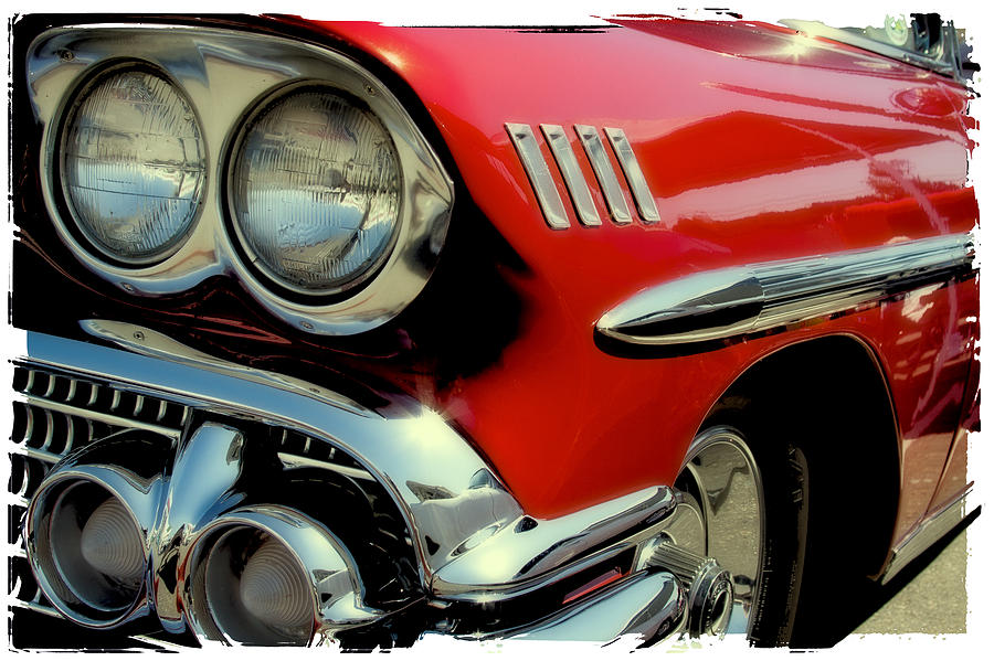 Red 1958 Chevrolet Impala Photograph