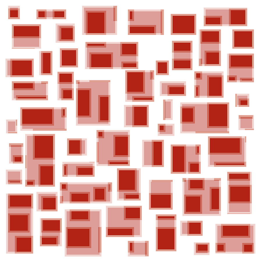 Red Abstract Rectangles Drawing  - Red Abstract Rectangles Fine Art Print