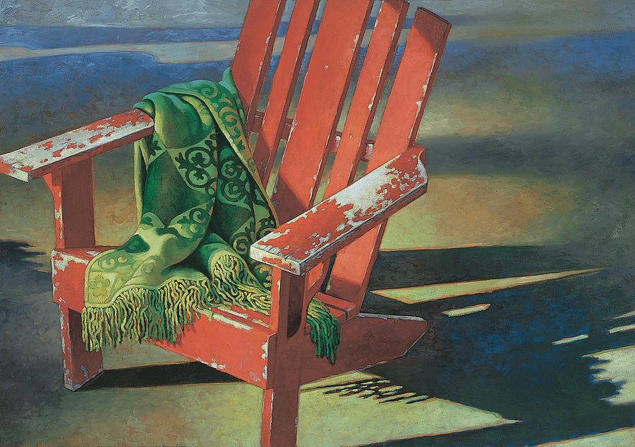 Red Painting - Red Adirondack Chair by Mia Tavonatti