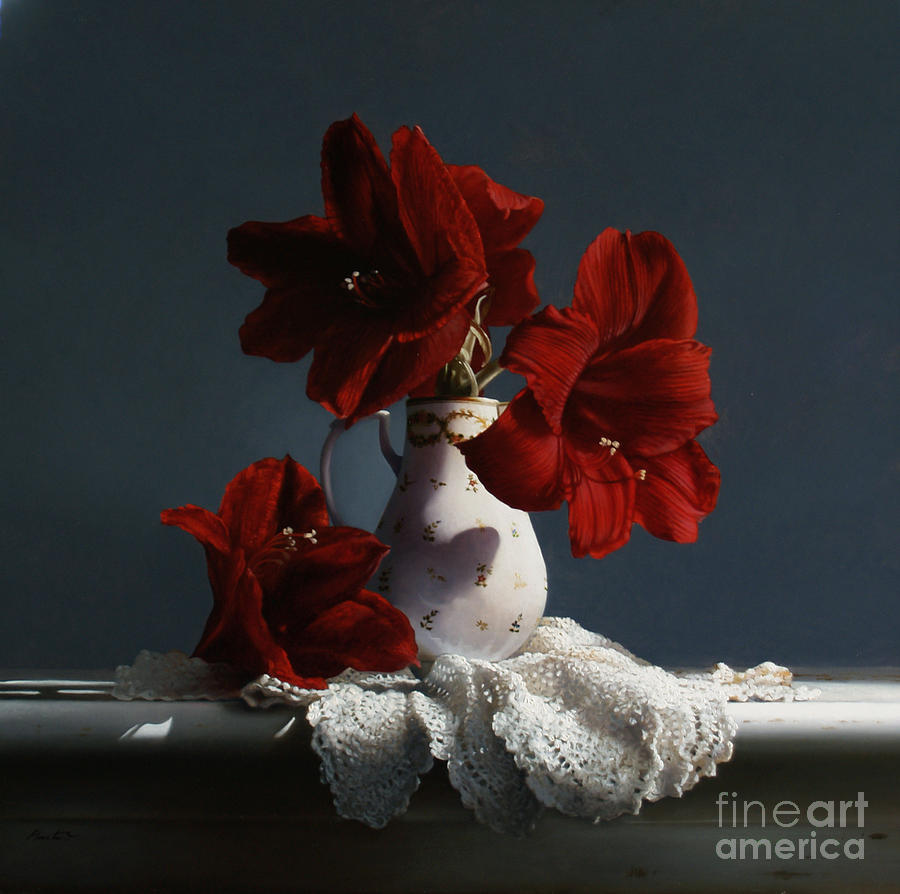 Red Painting - Red Amaryllis Flowers  by Larry Preston