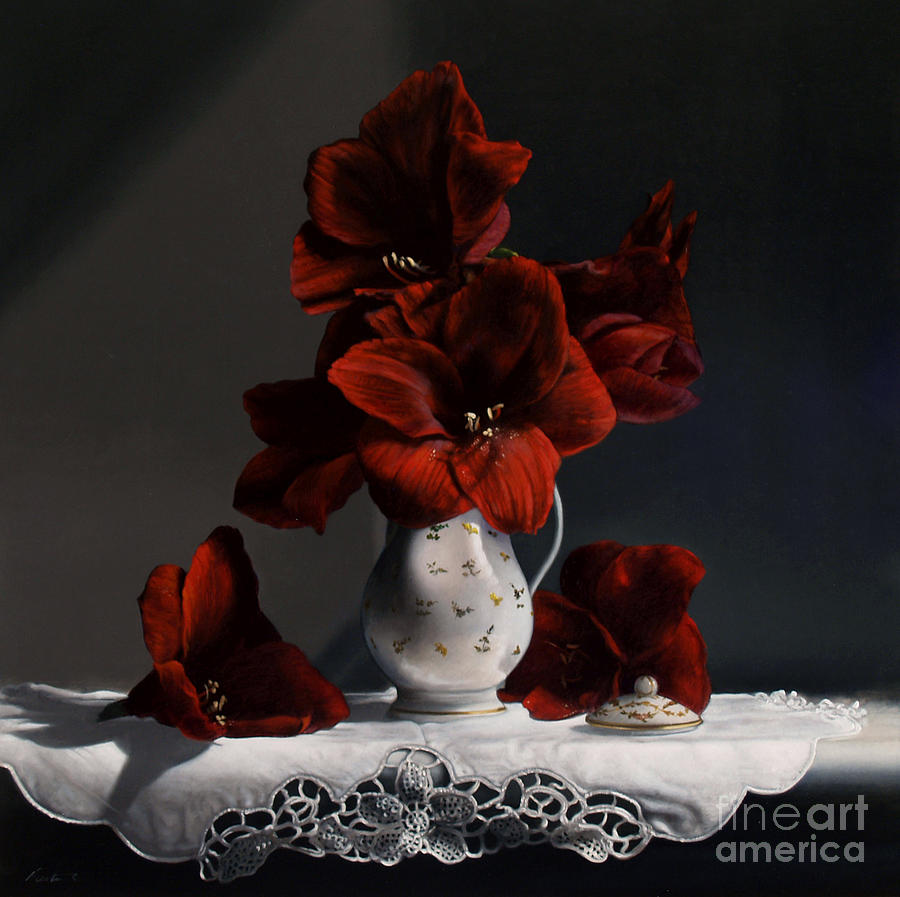 Red Amaryllis  Painting  - Red Amaryllis  Fine Art Print