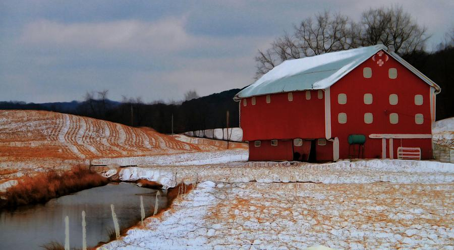 Red Amish Barn In Winter Photograph