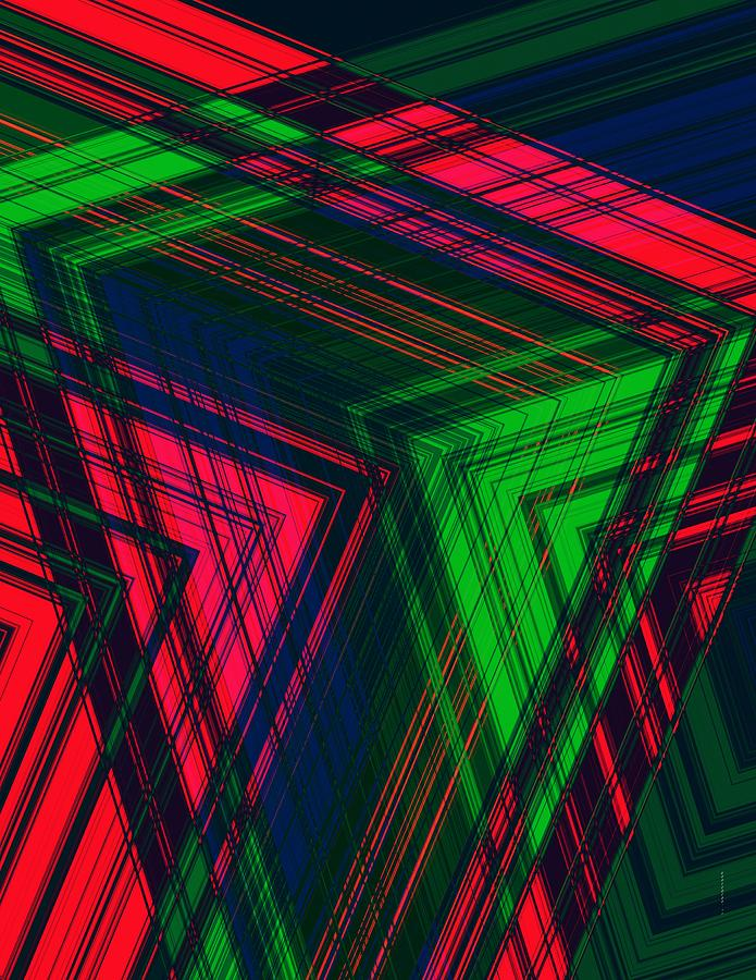 Red And Green In Geometric Design Digital Art