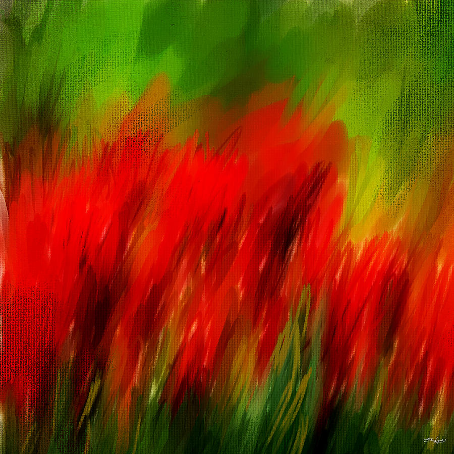 Tulips Painting - Red And Green by Lourry Legarde