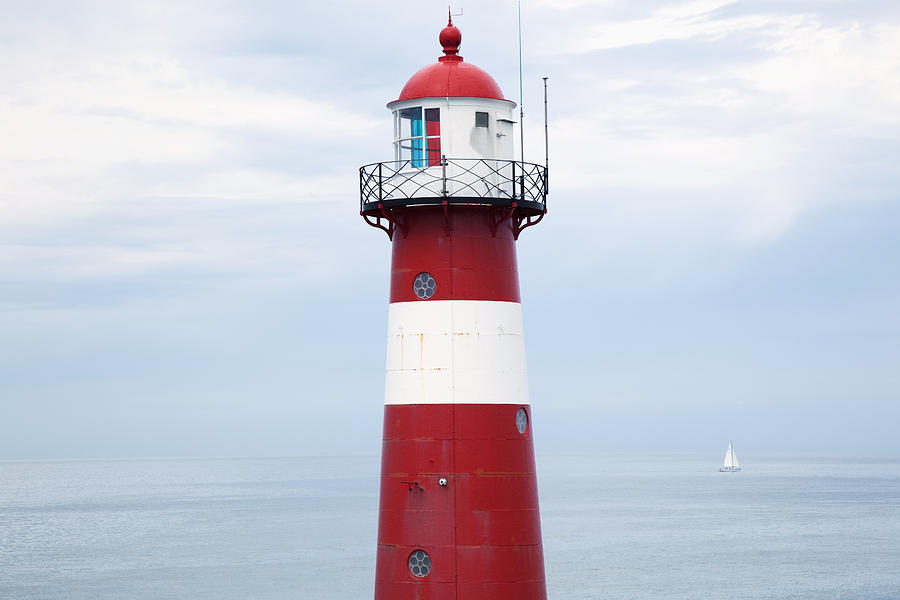 Cloud Photograph - Red And White Lighthouse by Peter Zoeller