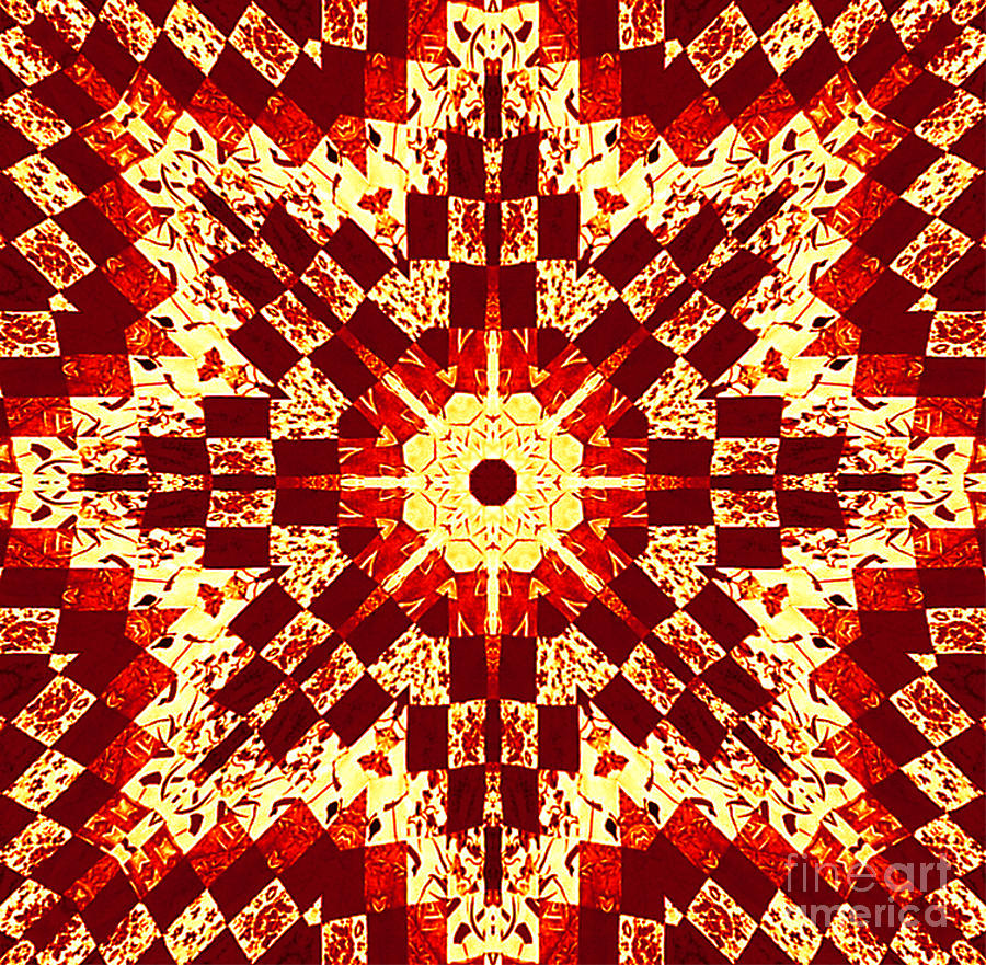 Red And White Patchwork Art Photograph